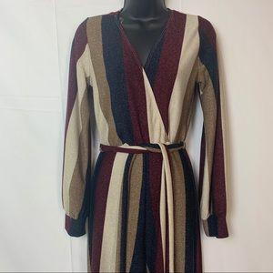 Touch Dolls Wide-leg V-Neck Belted Jumpsuit Size L